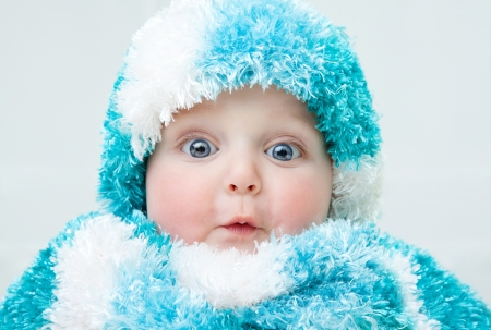 16573848 - cute baby at winter background