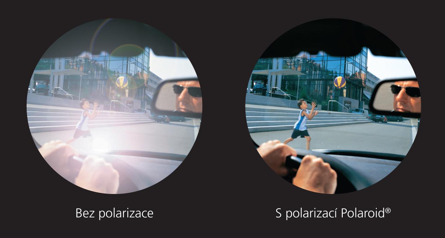 Vidění přes sluneční brýle bez polarizace a s polarizací